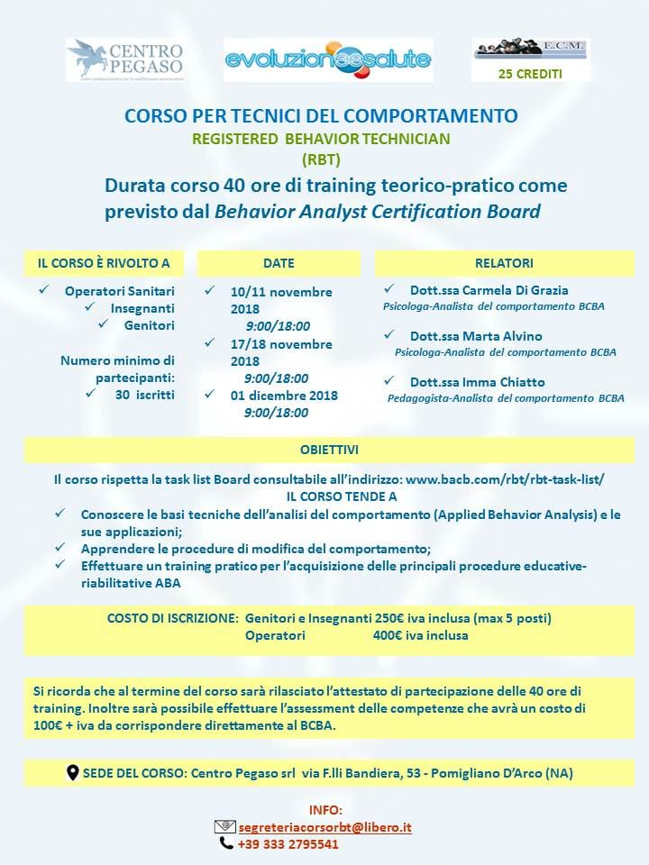 Corso per Tecnici del Comportamento Certificati Registered Behavior Technician™ (RBT™)