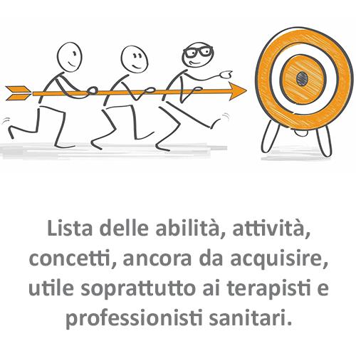 Lista delle abilità, attività, concetti, ancora da acquisire, utile soprattutto ai terapisti e professionisti sanitari.